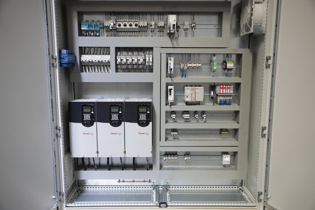 Inside electrical control panel