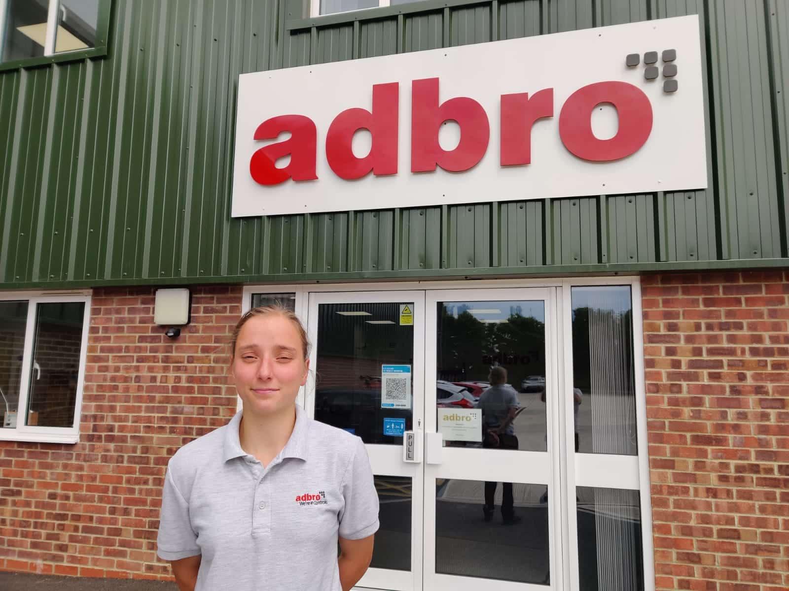Apprentice Chelsea stood outside Adbro Controls Ltd