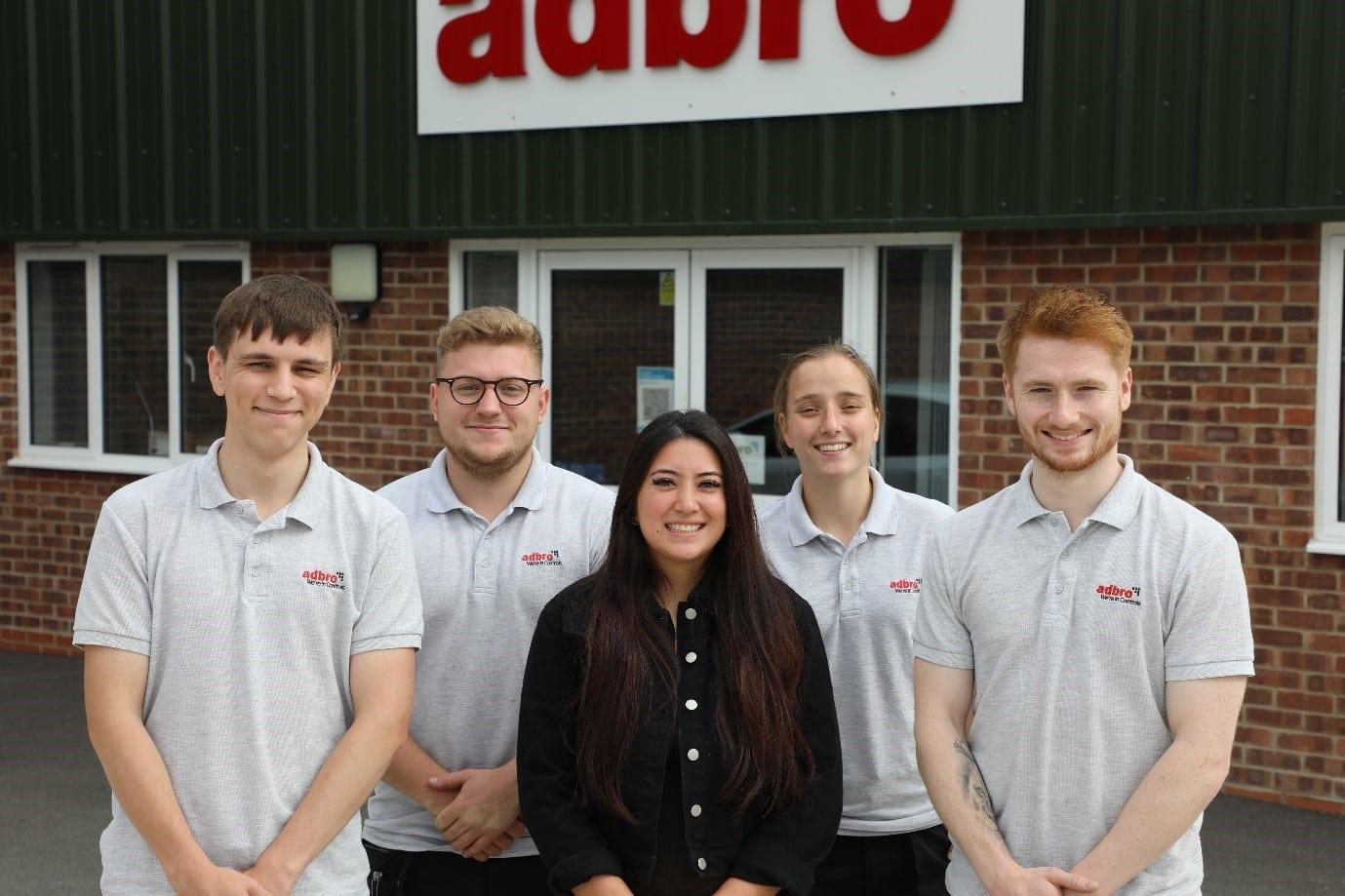 Adbro Controls Ltd Apprentices stood outside building