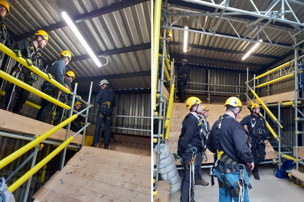 Training course for engineers wearing harness' and hard hats